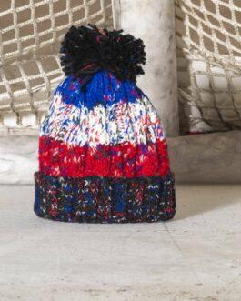 Wollmütze ~ Bommel blau-weiß-rot