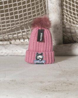 Wollmütze ~ Bommel pink