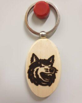 Schlüsselanhänger Holz – Wolfskopf